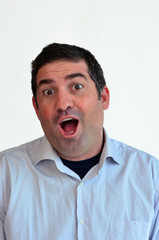 Man surprised face expression