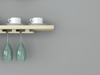 Kitchenware on the wooden shelf.