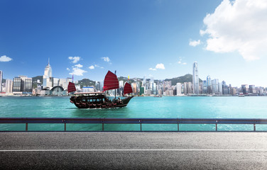 Fotomurales - fictional road in Hong Kong harbour