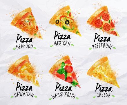 Pizza watercolor set