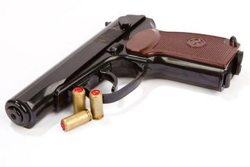 Black handgun And ammunition