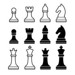 Chess Pieces Including King Queen Rook Pawn Knight and Bishop.
