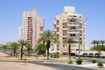 Modern living houses in Eilat city. South Israel.