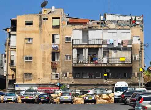 Old living block in poor quarter of Tel Aviv. Israel.