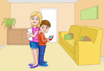 Girl and boy with ipad etc in living room