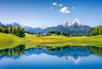 Wall Mural - Idyllic summer landscape with mountain lake and Alps
