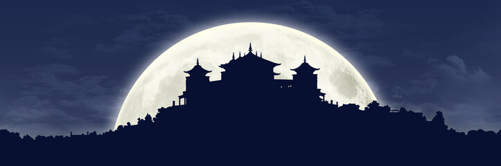 tibetan monastery at full moon