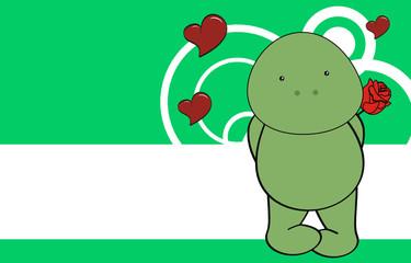 turtle baby love cartoon rose background