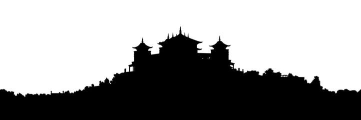 tibetan monastery silhouette