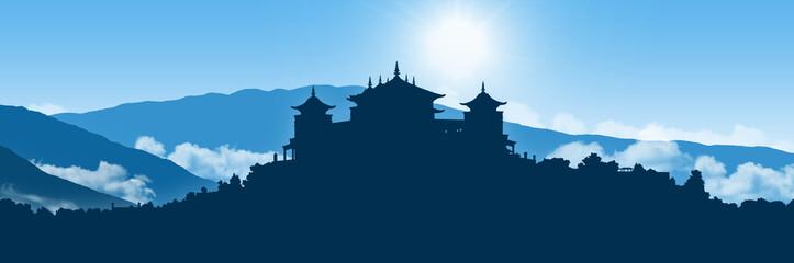 tibetan monastery in himalayas landscape