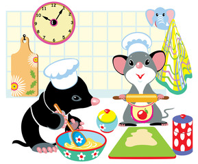 mole and mouse preparing the dough