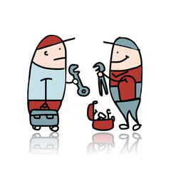 Mechanic with wrench and suitcase for instruments