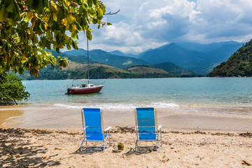Tropical Adventure, Sailing at Paraty Rio do Janeiro. Beach. Bra