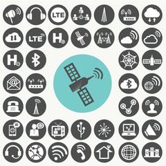 Network icons set. Illustration eps10