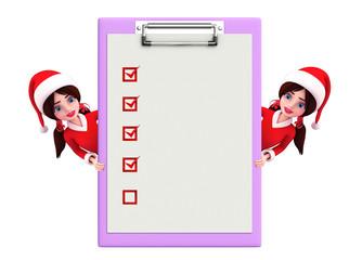 Santa Girl Character with notepad