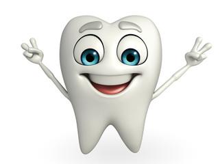 Teeth character is running