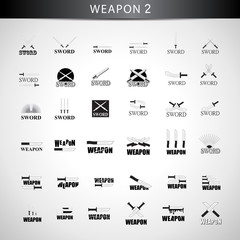 Sword Icons Set - Isolated On Gray Background