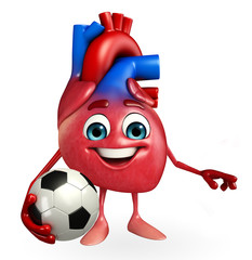 Heart character with football