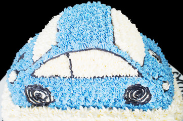 Home made cake shape of a car