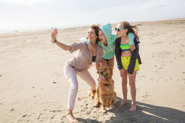 selfie at the beach with family