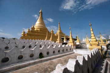 Golden Pagoda in Sanda Muni Paya in Myanmar.