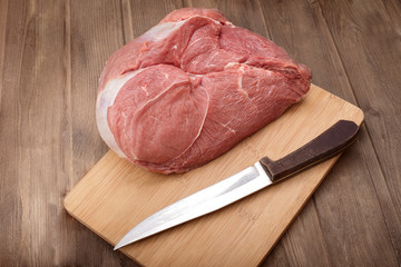 juicy piece of raw meat on a cutting board