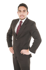 young handsome hispanic man in a suit