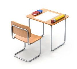 School desk with the pencil and eraser