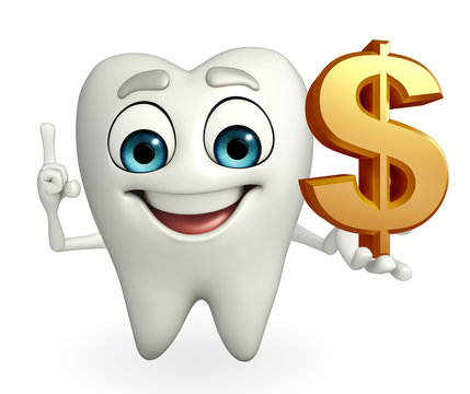 Teeth character with dollar sign