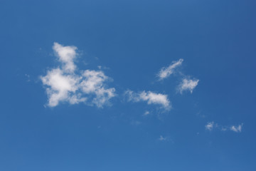 Blue sky and small white clouds.