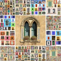 abstract wall made of many windows