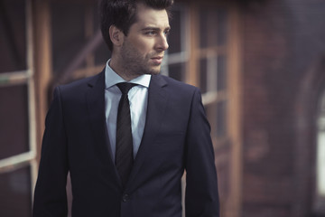 Handsome man with fitted suit