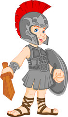 boy wearing roman soldier costume
