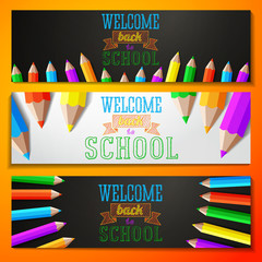 Set of school banners with place for your text and welcome back