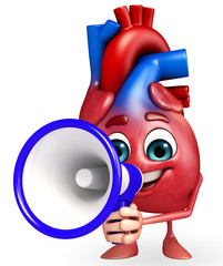 Heart character with loudspeaker