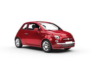 Small cherry colored economic car