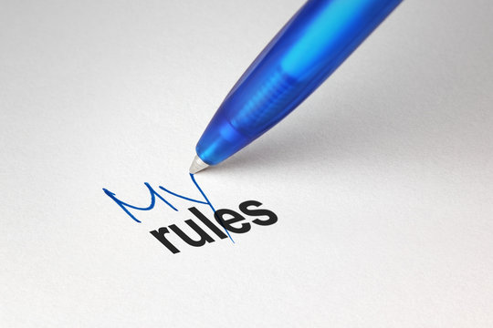 My rules, written on white paper