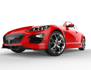 Sports car red front side