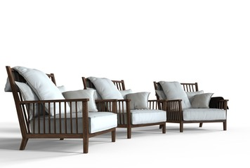Three white cozy armchairs - perspective shot