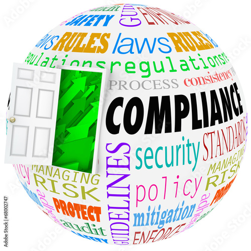 Wall mural Compliance Words Sphere Following Rules Regulations Stanards Law