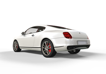 White elegant car on white background tail side