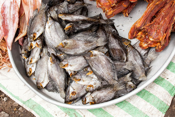 dried fish for sale mekong delta vietnam asia