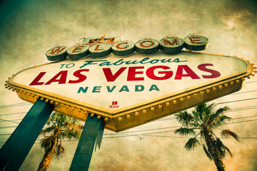 Welcome to Las Vegas Sign  with grunge texture