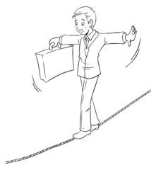 Cartoon of businessman with concept of risk in business