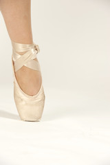 Ballet shoes on a white isolated background.