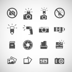 camera and flash icon set, vector eps10