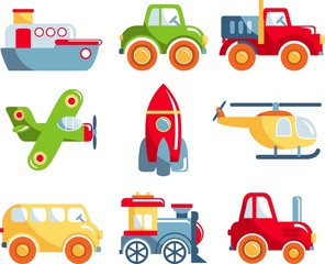 Different kind of toys transportation on white background