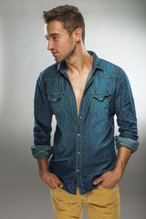Handsome man in fashionable dress posing in jeans