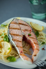 Delicious seafood meal of grilled salmon steak