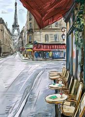 Wall Mural - Street in paris - illustration